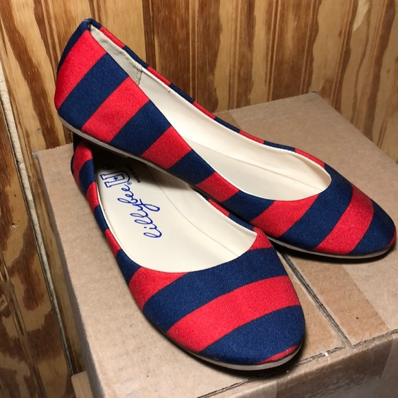lillybee Shoes - Red & blue stripe flat, 6